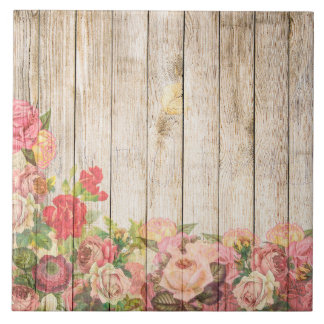 Vintage Rustic Romantic Roses Wood Tile