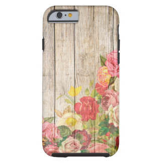 Vintage Rustic Romantic Roses Wood Tough iPhone 6 Case
