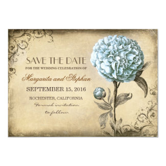 vintage rustic save the date card with blue peony 11 cm x 16 cm invitation card