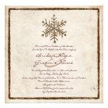 Vintage Rustic Snowflake Wedding Invitation