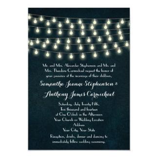 Vintage Rustic String Lights Navy Blue Wedding Card