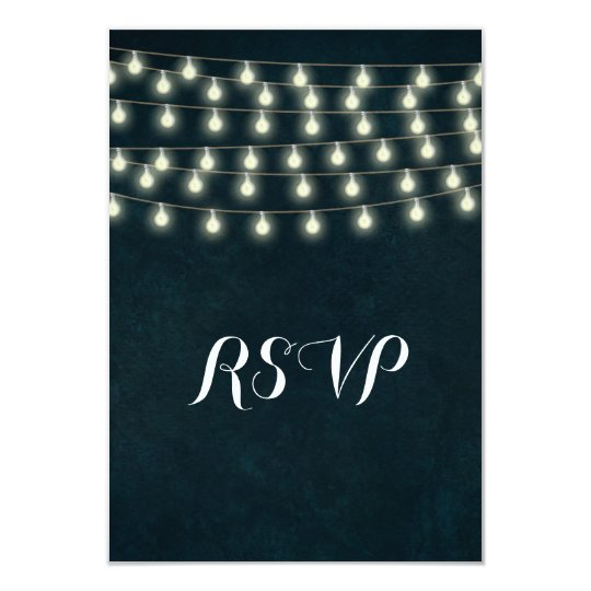 Vintage Rustic String Lights Navy Blue Wedding Card