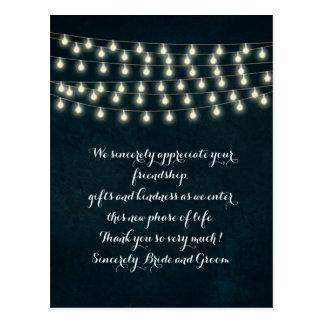 Vintage Rustic String Lights Navy Blue Wedding Postcard