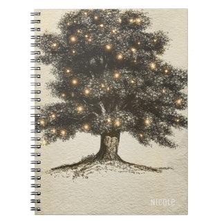 Vintage Rustic Tree & Lights Custom Wedding Notebook