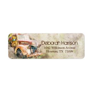 Vintage Rustic Truck Modern Trendy Return Address Label