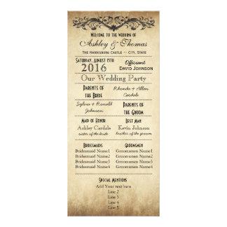 Vintage Rustic Typography Wedding Programs Customised Rack Card