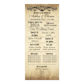 Vintage Rustic Typography Wedding Programs Rack Card