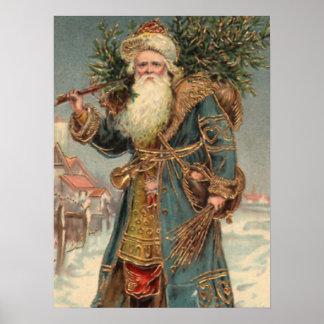 Vintage Rustic Victorian Santa Clause Print