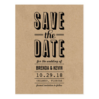 Vintage Rustic Wedding Save the Date Postcard