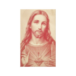 Vintage Sacred Heart of Jesus Wrapped Canvas