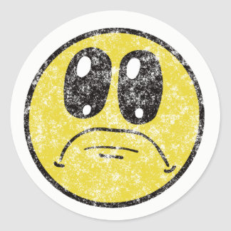 Vintage Sad Smiley Face Cartoon sticker