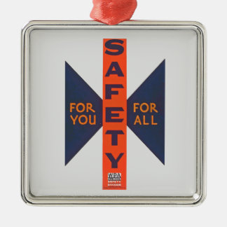 Vintage Safety For You Silver-Colored Square Decoration