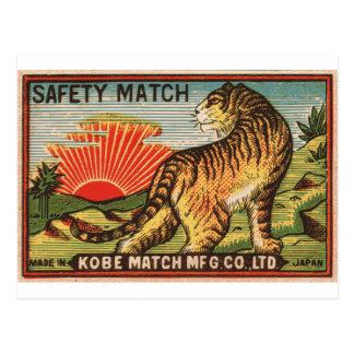 Vintage Safety Match Label - Tiger Postcard