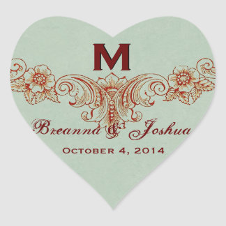 Vintage Sage Green Background Monogram Wedding Heart Sticker