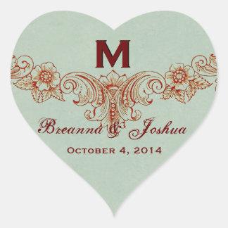 Vintage Sage Green Background Monogram Wedding Heart Sticker