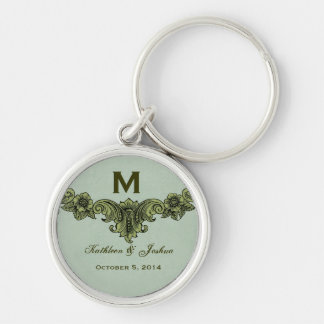 Vintage Sage Green Background Monogram Wedding Silver-Colored Round Key Ring
