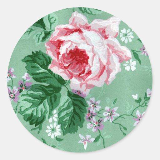 Vintage Sage Green Wallpaper Roses Sticker