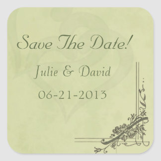 Vintage Sage Green Wedding Save The Date Square Sticker