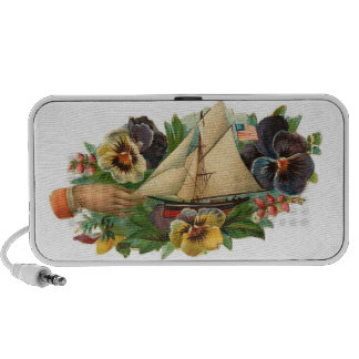 Vintage Sail Boat Pansy Floral--Doodle Speakers