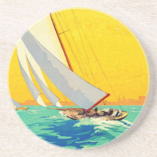Vintage Sail Boats French Travel Beverage Coaster