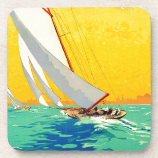 Vintage Sail Boats French Travel Coasters