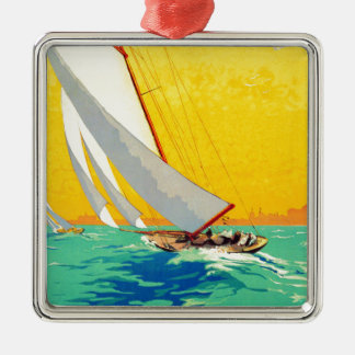 Vintage Sail Boats French Travel Christmas Ornaments
