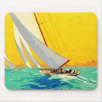 Vintage Sail Boats French Travel Mousepads