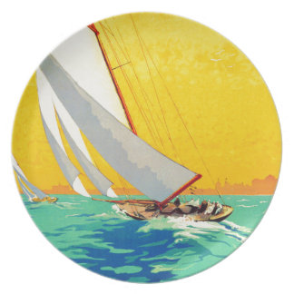 Vintage Sail Boats French Travel Dinner Plate