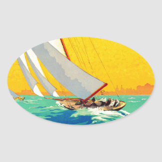 Vintage Sail Boats French Travel Oval Stickers