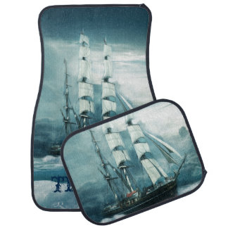 Vintage Sailboat on a Stormy Ocean Personalized Car Mat