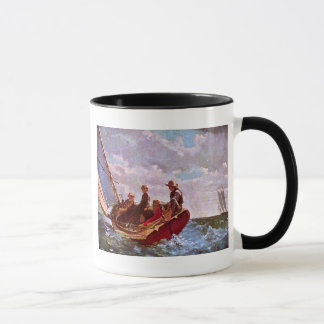 Vintage sailing dinghy in an open sea mug
