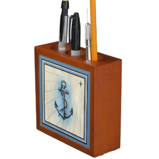 Vintage Sailing Emblems Desk Organizer