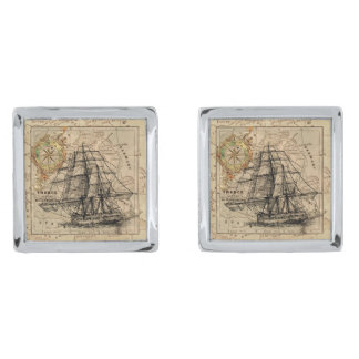 Vintage Sailing Ship and Old European Map Silver Finish Cufflinks
