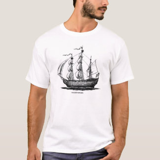 Vintage sailing ship ink pen drawing art tshirt