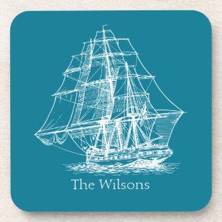 Vintage Sailing Ship Nautical Personalized Drink Coaster