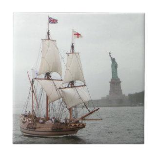 VINTAGE SAILING SHIP NEAR LIBERTY ISLAND CERAMIC TILE