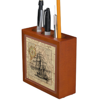Vintage Sailing Ship Old World Map Desk Organizer