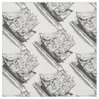 Vintage Sailing Ship  Sailboat Windjammer Fabric