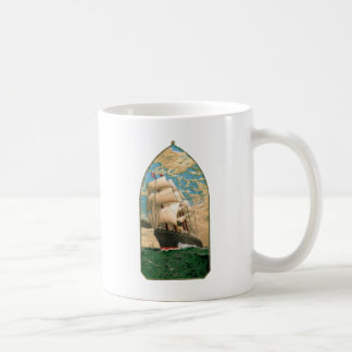 Vintage Sailing ship with American Flag Coffee Mug