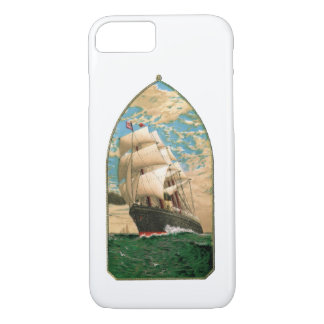 Vintage Sailing ship with American Flag iPhone 7 Case