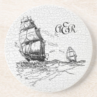 Vintage Sailing Ships Personalized Crackled Coaster