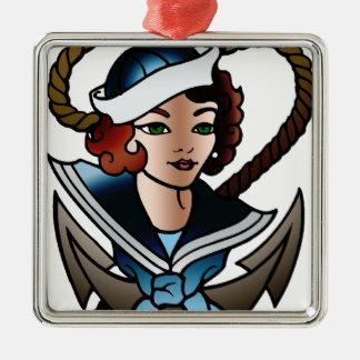 vintage sailor girl navy tattoo metal ornament
