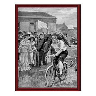 Vintage sailors cycle race postcard