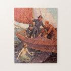 Vintage Sailors Mermaid Catch Jigsaw Puzzle