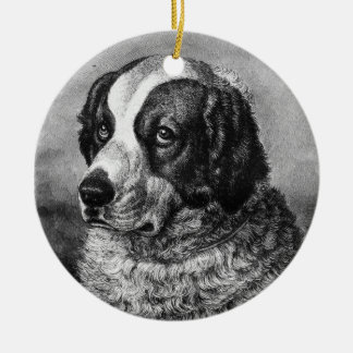 Vintage Saint Bernard Dog art Ceramic Ornament