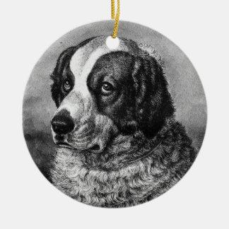 Vintage Saint Bernard Dog art Round Ceramic Decoration