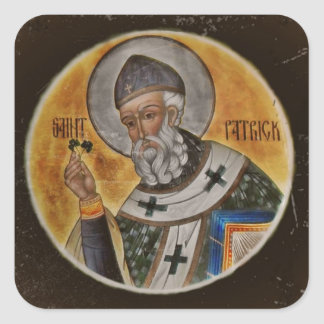 Vintage Saint Patrick with Shamrock Square Sticker