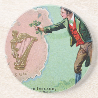 Vintage Saint Patrick's day erin's isle poster Coaster