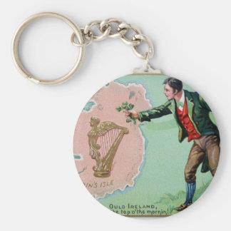 Vintage Saint Patrick's day erin's isle poster Key Ring