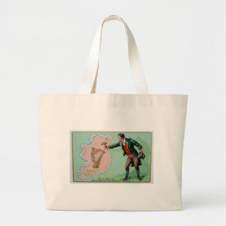 Vintage Saint Patrick's day erin's isle poster Large Tote Bag